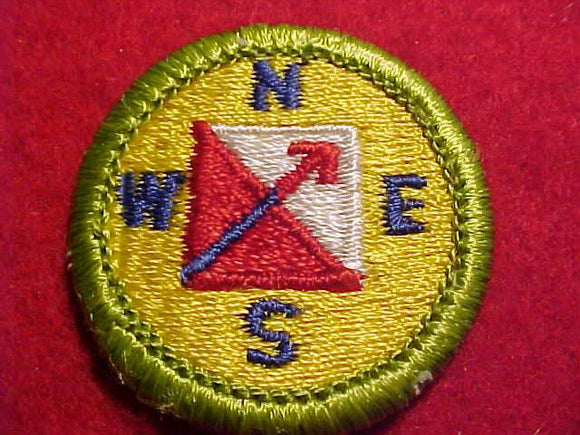 ORIENTEERING, MERIT BADGE WITH CLEAR PLASTIC BACK, GREEN BORDER, NO IMPRINTS/LOGOS IN PLASTIC, 1972-2002