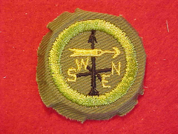 WEATHER, MERIT BADGE WITH CRIMPED EDGE, KHAKI, ISSUED 1946-60