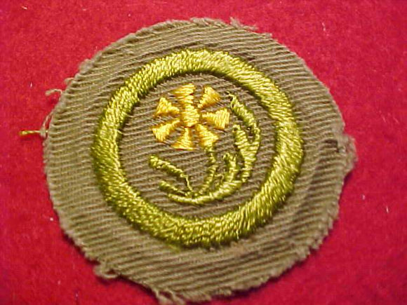 BOTANY MERIT BADGE, CRIMPED EDGE, TAN, ISSUED 1936-45
