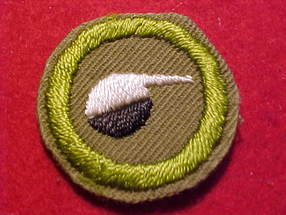 CHEMISTRY MERIT BADGE, CRIMPED EDGE, TAN, ISSUED 1936-45