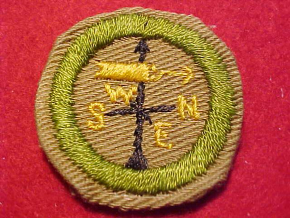 WEATHER MERIT BADGE, CRIMPED EDGE, TAN, ISSUED 1936-45