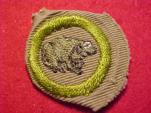 ZOOLOGY MERIT BADGE, CRIMPED EDGE, TAN, ISSUED 1936-45