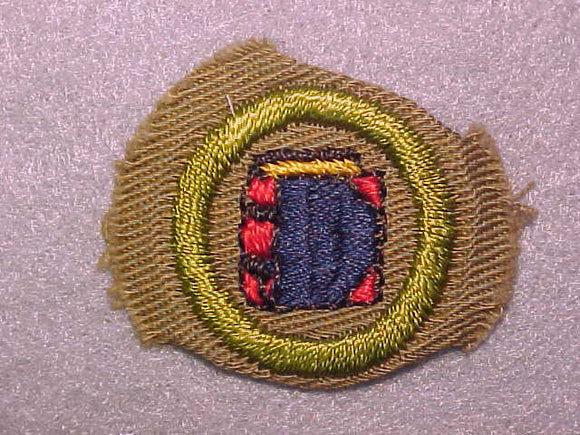 BOOKBINDING, MERIT BADGE WITH CRIMPED EDGE, TAN, ISSUED 1936-45