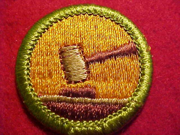 PUBLIC SPEAKING, MERIT BADGE WITH CLEAR PLASTIC BACK, GREEN BORDER, NO IMPRINTS/LOGOS IN PLASTIC, 1972-2002