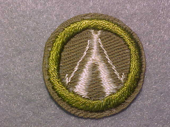 CAMPING, MERIT BADGE WITH CRIMPED EDGE, TAN, ISSUED 1936-45