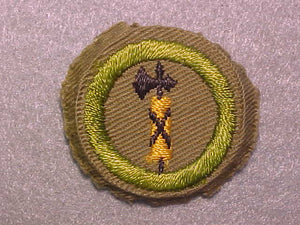 CIVICS, MERIT BADGE WITH CRIMPED EDGE, TAN, ISSUED 1936-45