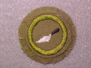 MASONRY, MERIT BADGE WITH CRIMPED EDGE, TAN, ISSUED 1936-45