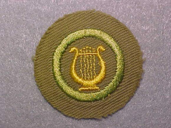 MUSIC, MERIT BADGE WITH CRIMPED EDGE, TAN, ISSUED 1936-45