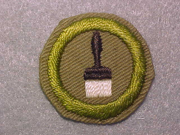 PAINTING, MERIT BADGE WITH CRIMPED EDGE, TAN, ISSUED 1936-45