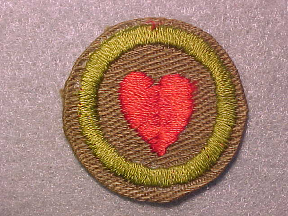 PERSONAL FITNESS, MERIT BADGE WITH CRIMPED EDGE, TAN, ISSUED 1936-45
