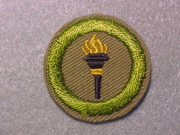 PUBLIC HEALTH, MERIT BADGE WITH CRIMPED EDGE, TAN, ISSUED 1936-45