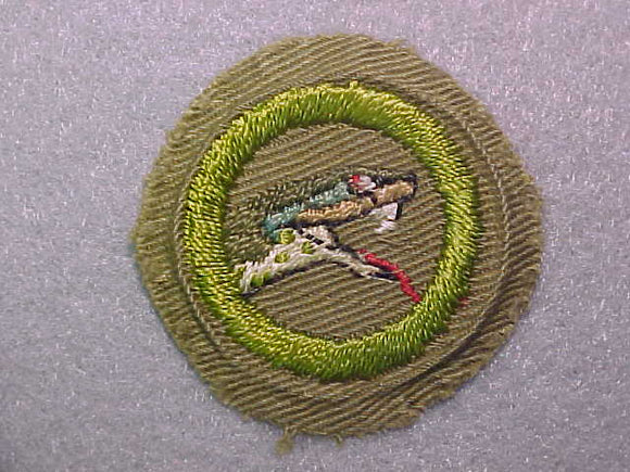 REPTILE STUDY, MERIT BADGE WITH CRIMPED EDGE, TAN, ISSUED 1936-45