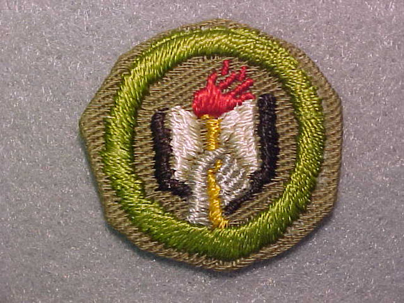 SCHOLARSHIP, MERIT BADGE WITH CRIMPED EDGE, TAN, ISSUED 1936-45