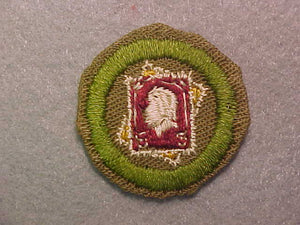 STAMP COLLECTING, MERIT BADGE WITH CRIMPED EDGE, TAN, ISSUED 1936-45