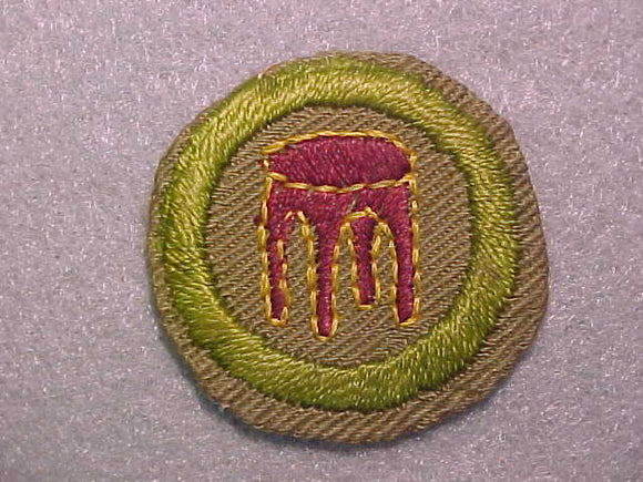 WOODWORK, MERIT BADGE WITH CRIMPED EDGE, TAN, ISSUED 1936-45