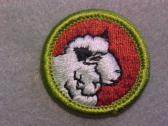 SHEEP FARMING, MERIT BADGE WITH CLEAR PLASTIC BACK, GREEN BORDER, NO IMPRINTS/LOGOS IN PLASTIC