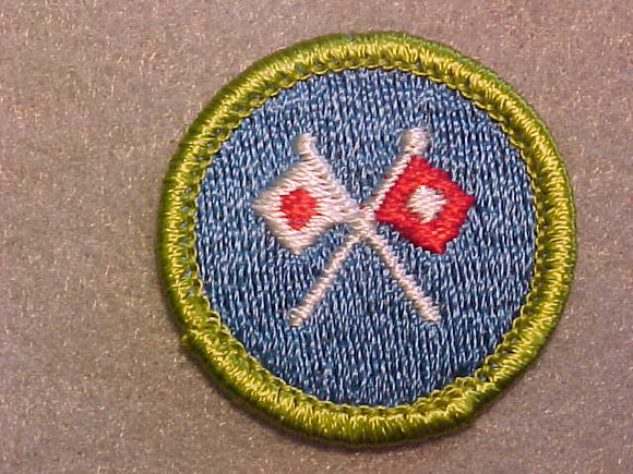 SIGNALING, MERIT BADGE WITH CLEAR PLASTIC BACK, GREEN BORDER, NO IMPRINTS/LOGOS IN PLASTIC