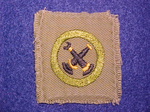 FIREMANSHIP SQUARE MERIT BADGE, 48X52 MM, USED