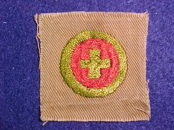 FIRST AID SQUARE MERIT BADGE, 51X49 MM, USED