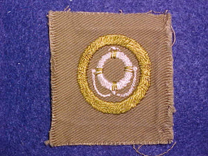LIFESAVING SQUARE MERIT BADGE, 50X55 MM, USED
