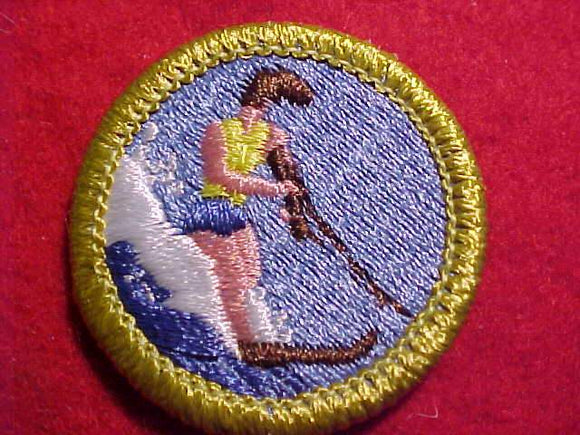 WATER SKIING, MERIT BADGE WITH CLEAR PLASTIC BACK, GREEN BORDER, NO IMPRINTS/LOGOS IN PLASTIC, 1996-2003, YELLOW LIFE JACKET