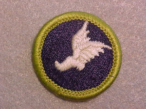 ATHLETICS, MERIT BADGE WITH CLEAR PLASTIC BACK, GREEN BORDER, NO IMPRINTS/LOGOS IN PLASTIC