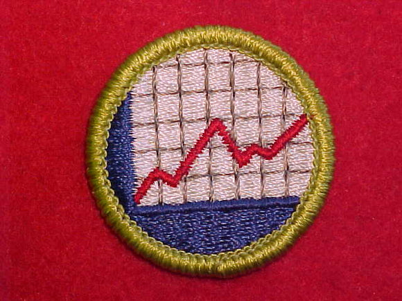 AMERICAN BUSINESS, MERIT BADGE WITH CLEAR PLASTIC BACK, GREEN BORDER, NO IMPRINTS/LOGOS IN PLASTIC