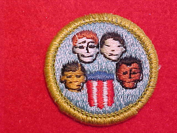 AMERICAN CULTURES, MERIT BADGE WITH CLEAR PLASTIC BACK, GREEN BORDER, NO IMPRINTS/LOGOS IN PLASTIC