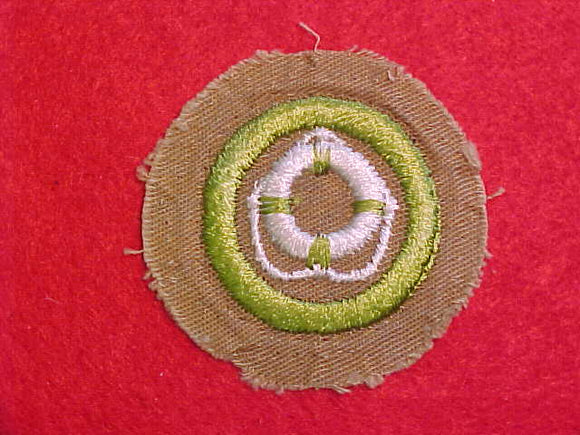 LIFESAVING MERIT BADGE, FINE TWILL, WWII ISSUE, USED