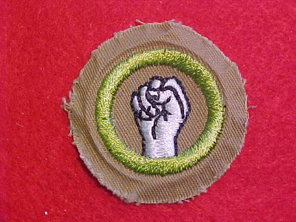 PHYSICAL DEVELOPMENT MERIT BADGE, FINE TWILL, WWII ISSUE, MINT