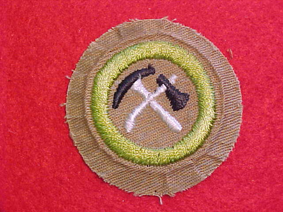 PIONEERING MERIT BADGE, FINE TWILL, WWII ISSUE, USED