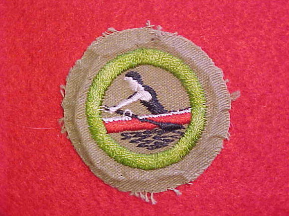 ROWING MERIT BADGE, FINE TWILL, WWII ISSUE, USED