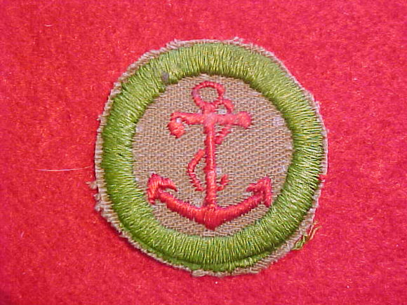 SEAMANSHIP MERIT BADGE, FINE TWILL, WWII ISSUE,USED, BORDER TRIMMED, RARE