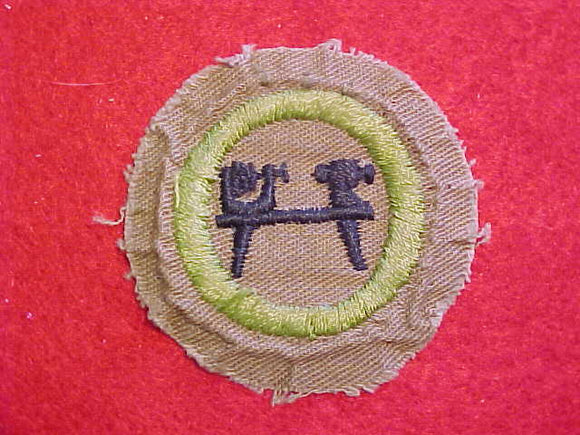 WOODTURNING MERIT BADGE, FINE TWILL, WWII ISSUE, USED, RARE