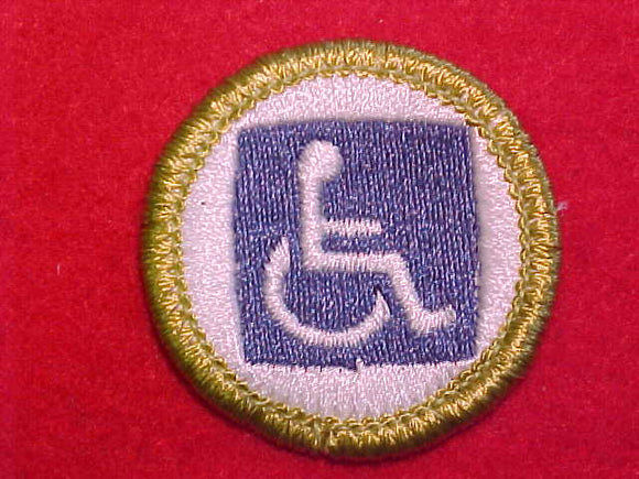 DISABILITY AWARENESS, MERIT BADGE WITH CLEAR PLASTIC BACK, GREEN BORDER, NO IMPRINTS/LOGOS IN PLASTIC