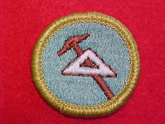 DRAFTING, MERIT BADGE WITH CLEAR PLASTIC BACK, GREEN BORDER, NO IMPRINTS/LOGOS IN PLASTIC