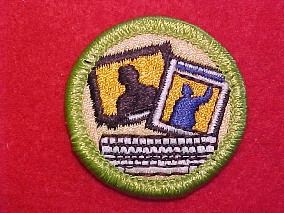 JOURNALISM, MERIT BADGE WITH CLEAR PLASTIC BACK, GREEN BORDER, NO IMPRINTS/LOGOS IN PLASTIC