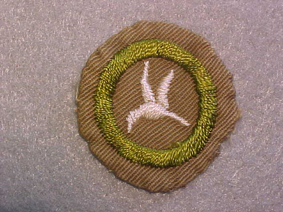 BIRD STUDY MERIT BADGE, WIDE TAN BORDER, ISSUED 1932-36, USED