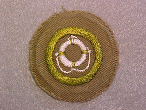 LIFE SAVING MERIT BADGE, WIDE BORDER CRIMPED, ISSUED 1932-36, MINT