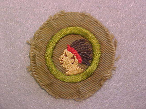 PATHFINDING MERIT BADGE, WIDE BORDER CRIMPED, ISSUED 1932-36, USED