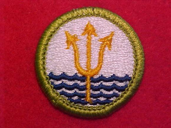 OCEANOGRAPHY, MERIT BADGE WITH CLEAR PLASTIC BACK, GREEN BORDER, NO IMPRINTS/LOGOS IN PLASTIC