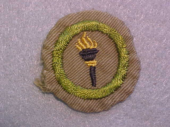 PUBLIC HEALTH MERIT BADGE, WIDE BORDER, CRIMPED, ISSUED 1932-36, USED