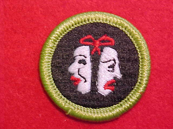 THEATER, MERIT BADGE WITH CLEAR PLASTIC BACK, GREEN BORDER, NO IMPRINTS/LOGOS IN PLASTIC