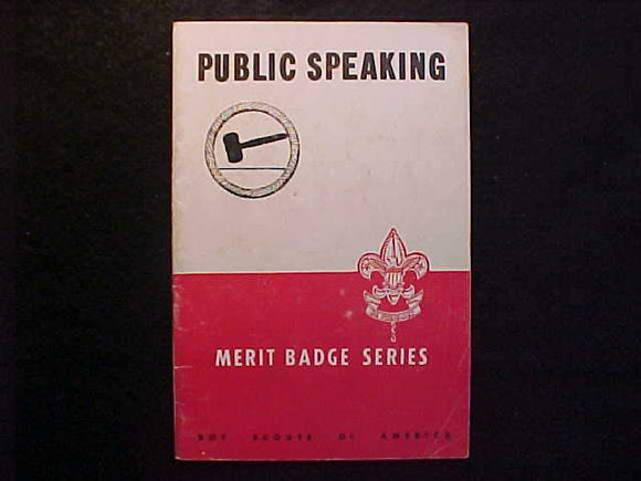 PUBLIC SPEAKING MERIT BADGE BOOK, TYPE 5B COVER, COPYRIGHT 1944, JUNE 1951 PRINTING, GOOD COND.