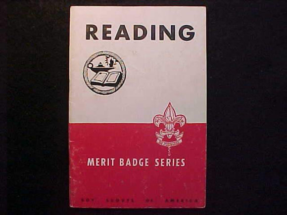 READING MERIT BADGE BOOK, TYPE 5B COVER, COPYRIGHT 1940, SEPT. 1950 PRINTING, GOOD COND.