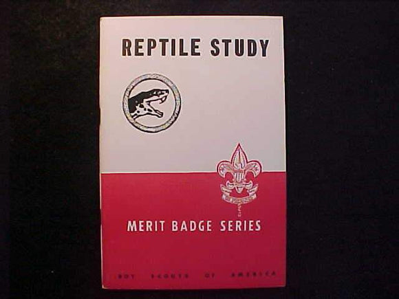 REPTILE STUDY MERIT BADGE BOOK, TYPE 5B COVER, COPYRIGHT 1944, FEB. 1949 PRINTING, MINT COND.