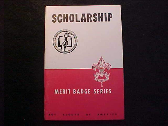 SCHOLARSHIP MERIT BADGE BOOK, TYPE 5B COVER, COPYRIGHT 1940, DEC. 1949 PRINTING, EXCELLENT COND.