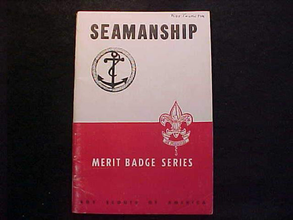 SEAMANSHIP MERIT BADGE BOOK, TYPE 5B COVER, COPYRIGHT 1945, NOV. 1945 PRINTING, V. GOOD COND.