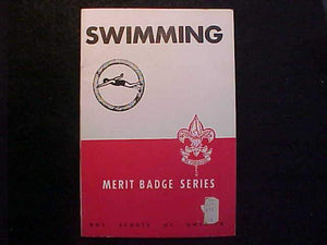 SWIMMING MERIT BADGE BOOK, TYPE 5B COVER, COPYRIGHT 1944, SEPT. 1951 PRINTING, EXCELLENT COND.