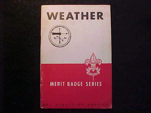 WEATHER MERIT BADGE BOOK, TYPE 5B COVER, COPYRIGHT 1943, JAN. 1945 PRINTING,V. GOOD COND.